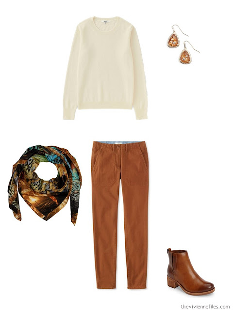 ivory cashmere crewneck sweater with rust pants