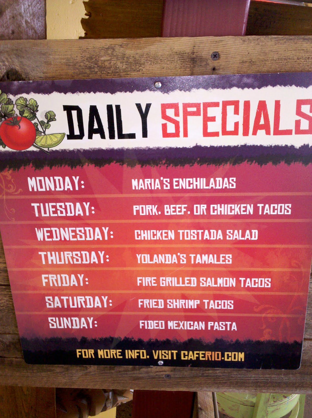 Observations Of The Practical Kind Cafe Rio Daily Specials