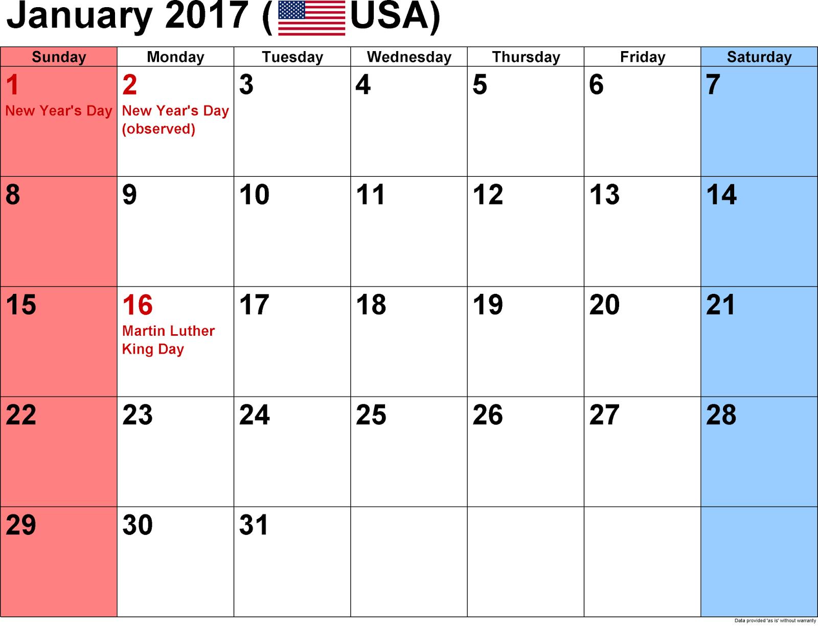 January 2017 Monthly Calendar Printable Templates - Printable ...