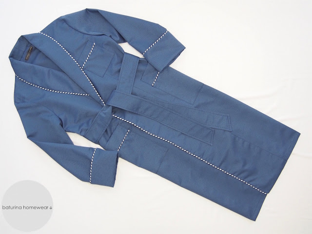 Blue dressing gown silk mens tailored robe striped trimmed lounging housecoat smoking jacket.