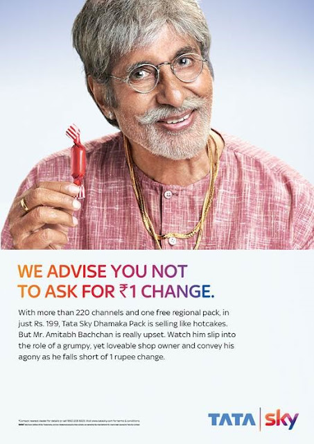 Tata Sky's campaign sends Legend Big B and Superstar Nayanthara hunting for One Rupee change