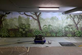 Malowanie na ścianie lasu tropikalnego, mural 3d, malowanie dzungli na ścianie
