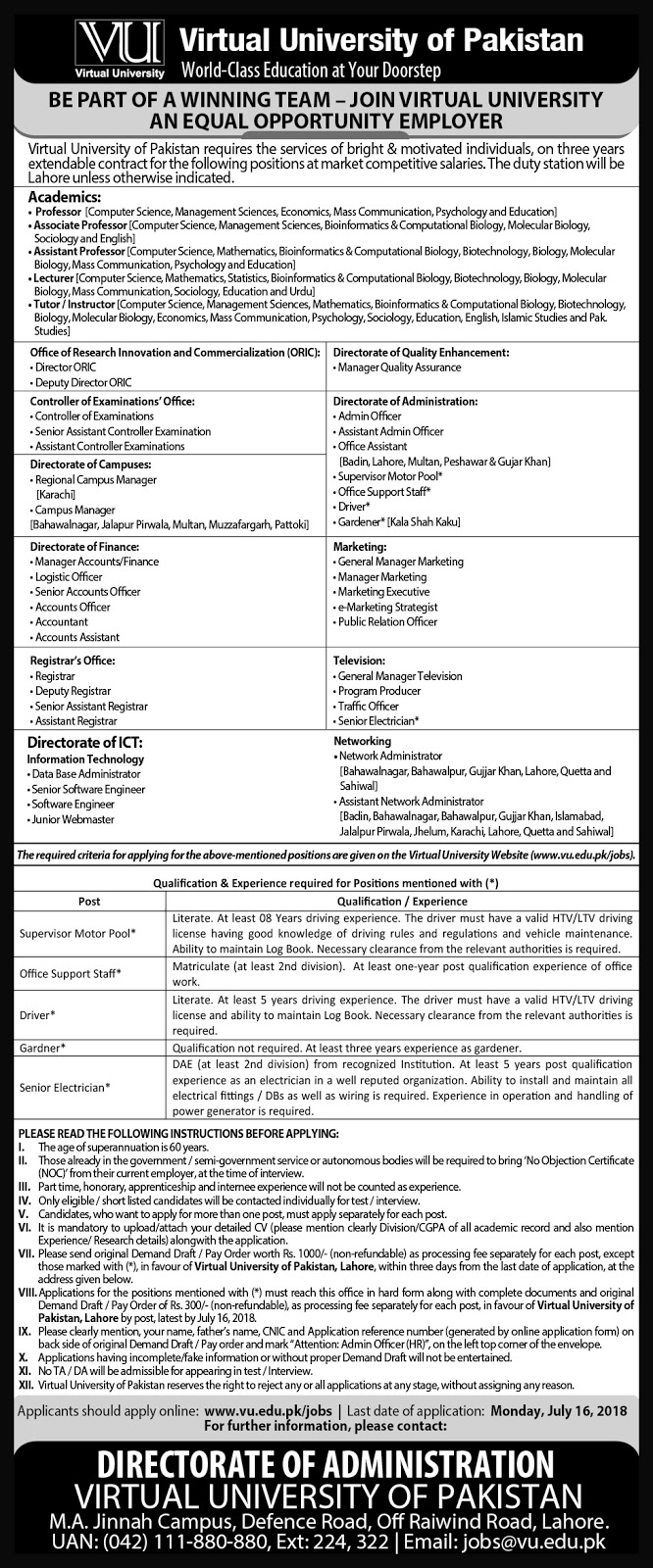 Lecturers Jobs in Virtual University 2018