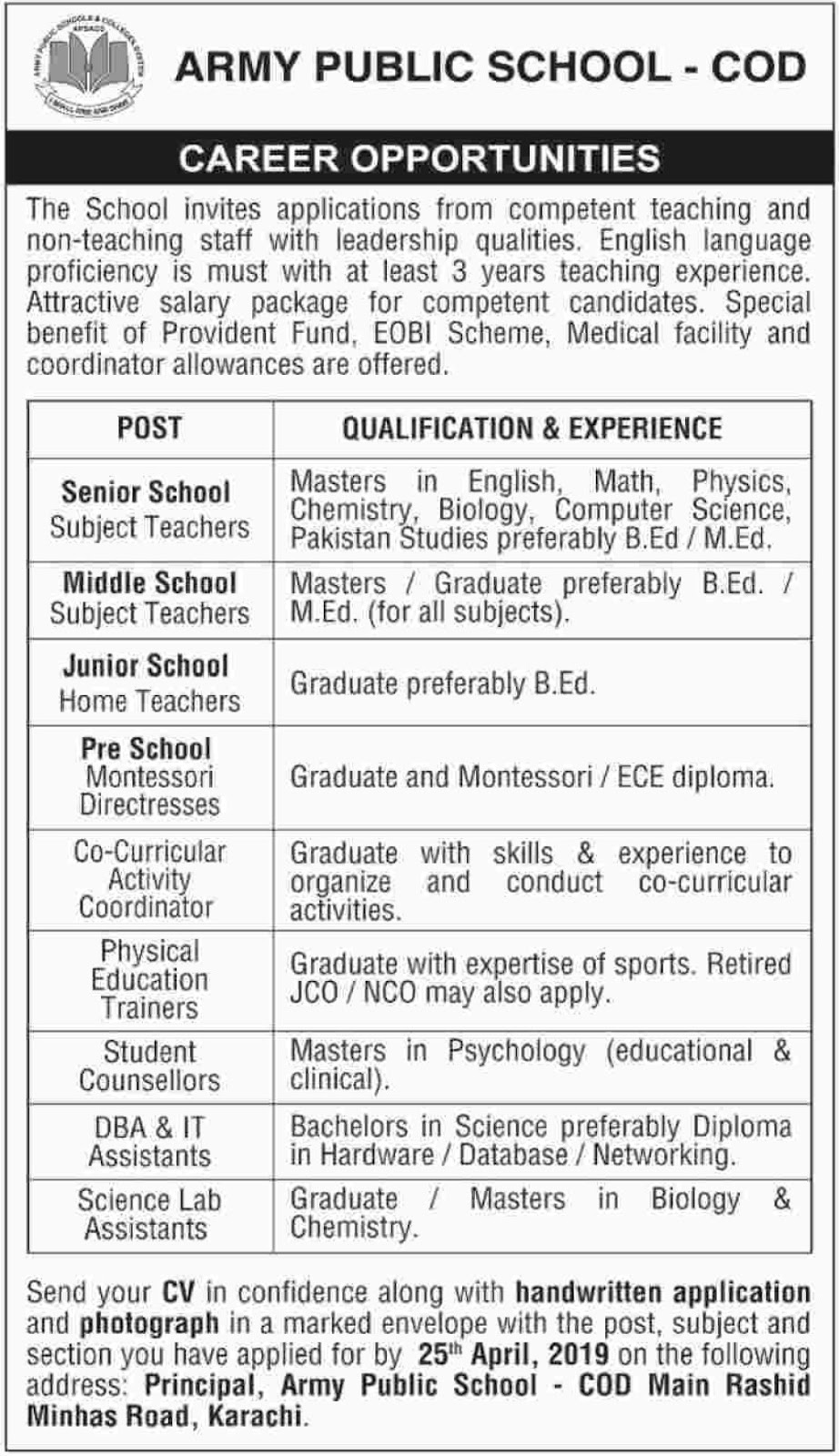 Army Public School COD Karachi Jobs 2019 For Teachingv