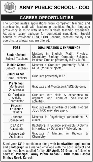 Army Public School COD Karachi Jobs 2019 For Teachingv