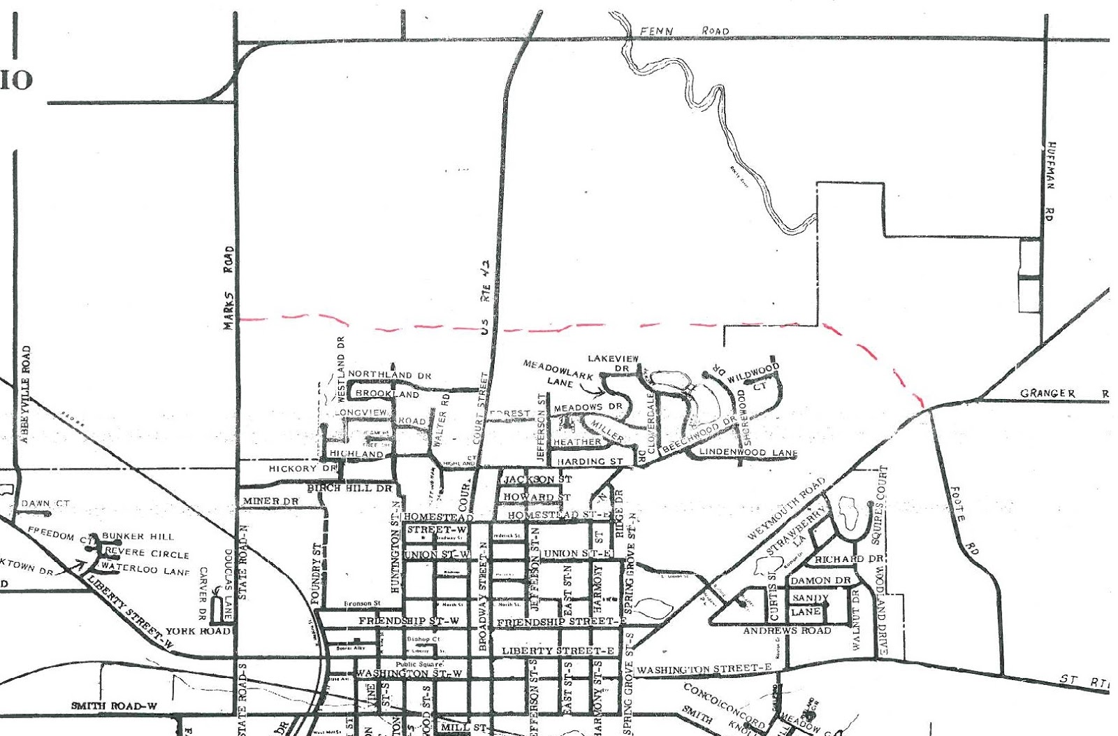 1981 map for medina location of reagan parkway is marked in red dashes notice how little development is in the area