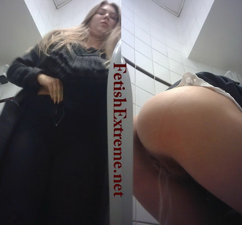 Women's public toilet 07 (European girls pissing on the toilet)