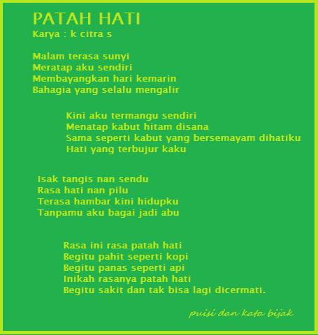 puisi Sang Dewi patah hati