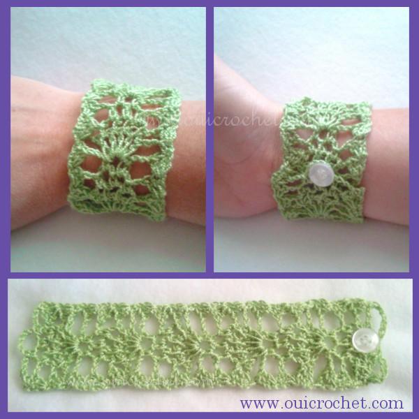 Crochet, Free Crochet Pattern, Crochet Jewelry, Crochet Lace Cuff Bracelet, Crochet Bracelet, Lace Cuff Bracelet, Crochet Lace Cuff, Lace Cuff, #OuiCrochet