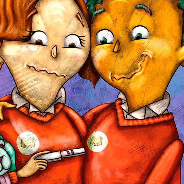 Ilustración infantil. Convivencia escolar