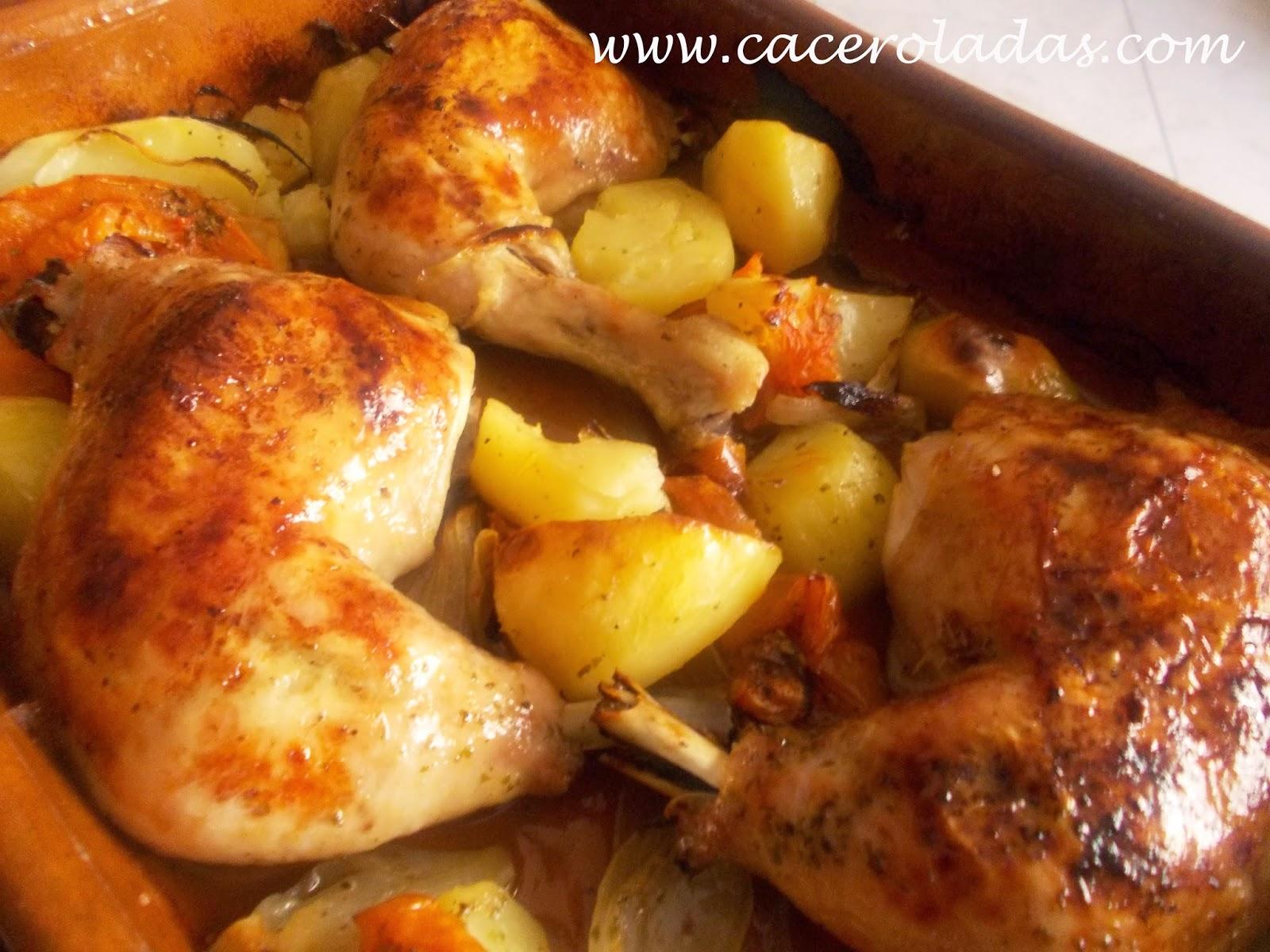Pollo al horno con patatas, tomates y cebolla. | CACEROLADAS: Pollo ...
