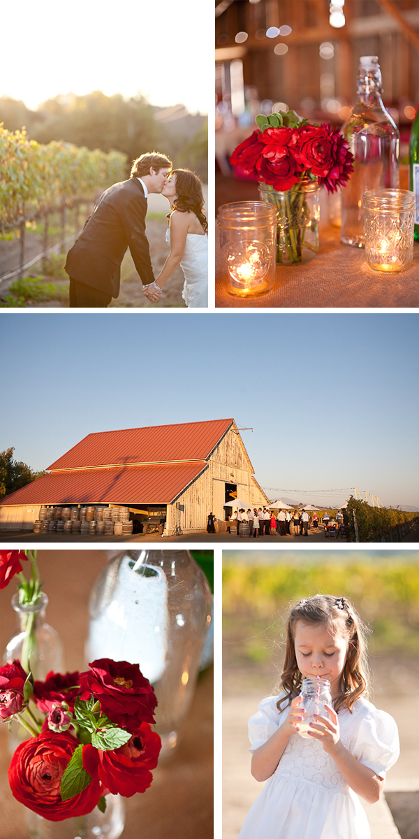 rustic foodie and wine lover wedding in solvang, california   Jen Rau Photography / Event Planning: The Green Ribbon Party Planning Co. / Caterers: Whoa Nelly Catering / Venue:  The Barn at Coquelicot Vineyard / Cake and Desserts: My Sweet and Saucy and SusieCakes / Floral Design: Brown Paper Design