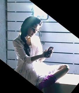 Amrita Rao with mobile