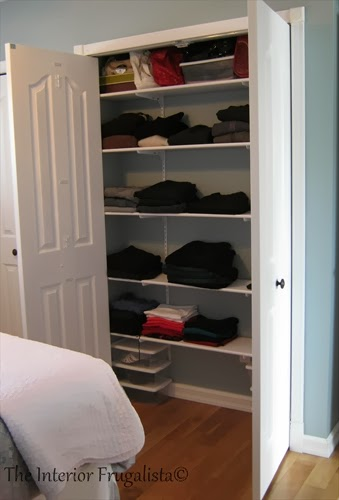 Organizing the new narrow master bedroom closet
