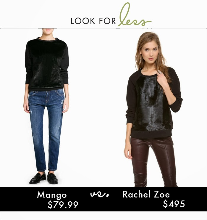 haircalf, mixed material sweatshirt, faux fur, rachel zoe, mango, calf hair