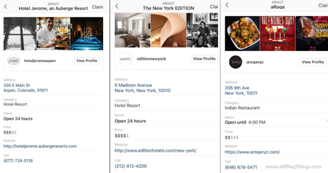 Instagram Local Business Profile Pages