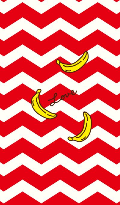 Banana - Red zigzag-