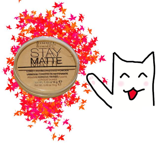 Photo de la Stay Matte de chez Rimmel avec un dessin d'un chat montrant le produit avec sa patte
