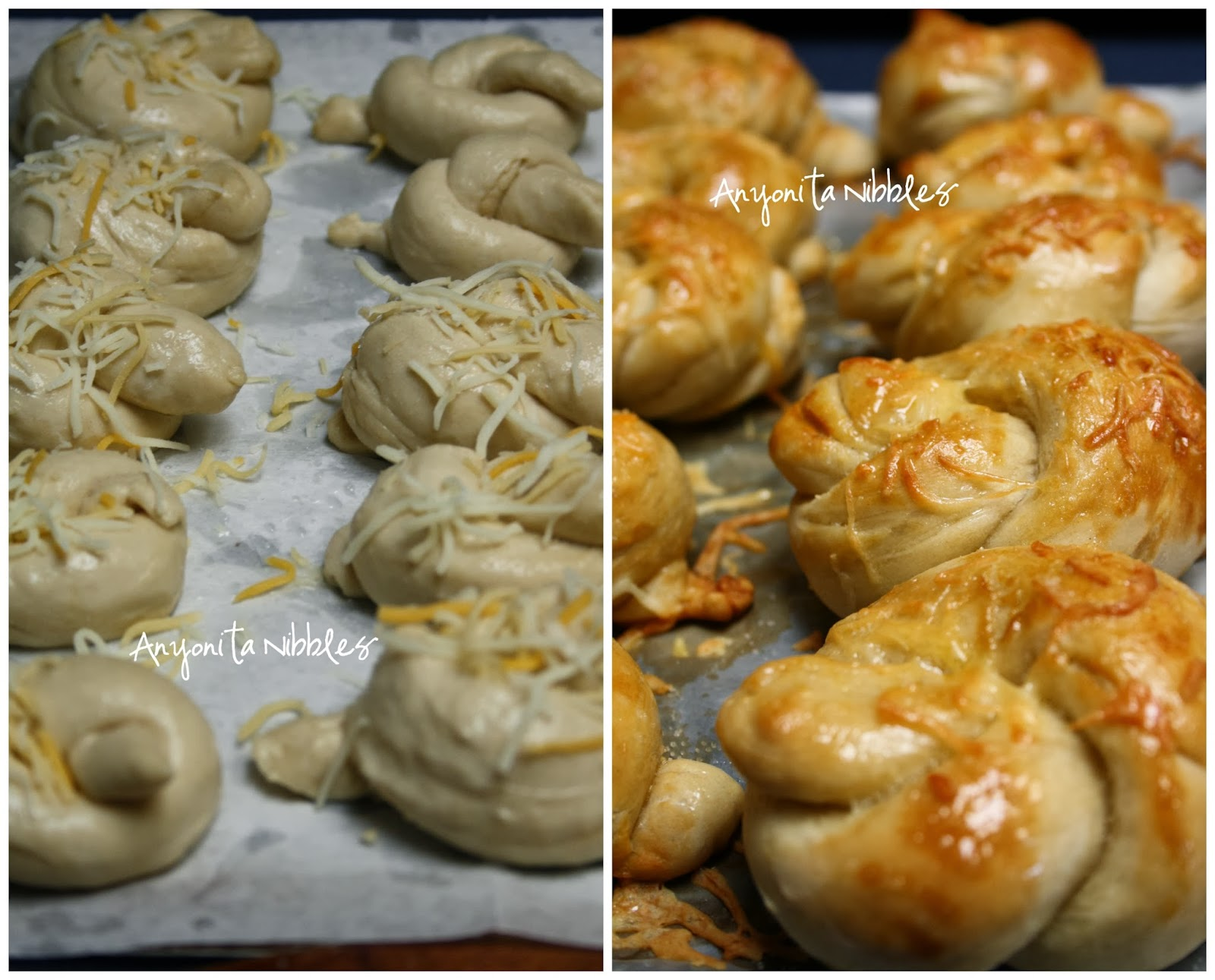 Uncooked and Cooked Cheesy Soft Pretzel Knots from www.anyonita-nibbles.com