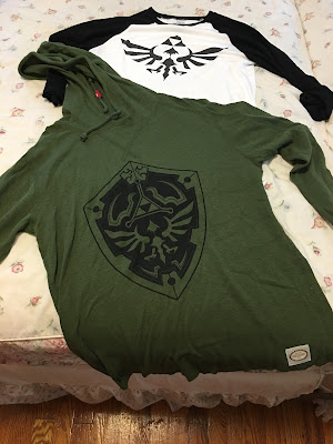 The Legend of Zelda green sweatshirt hoodie Hylian shield t-shirt black white Triforce