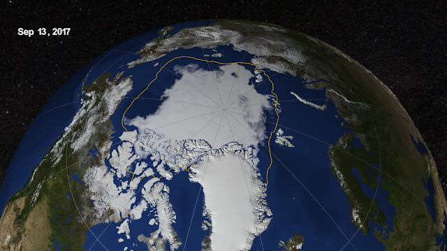 End-of-summer Arctic sea ice extent is eighth lowest on record