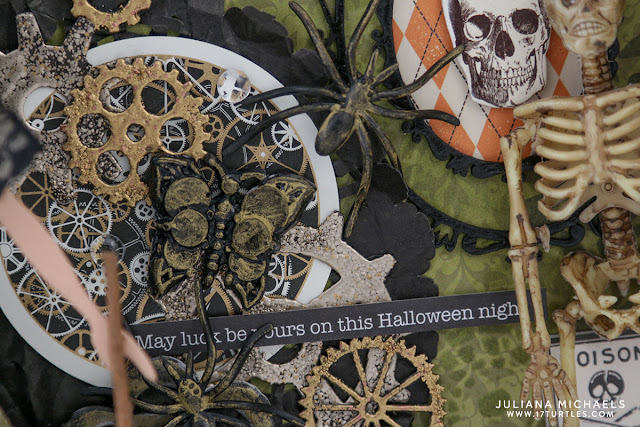 Halloween Mixed Media Shadow Box featuring Jillibean Soup Mix the Media 8x8 Wood Plank and Donna Salazar Art Doll Spellbinder Die by Juliana Michaels