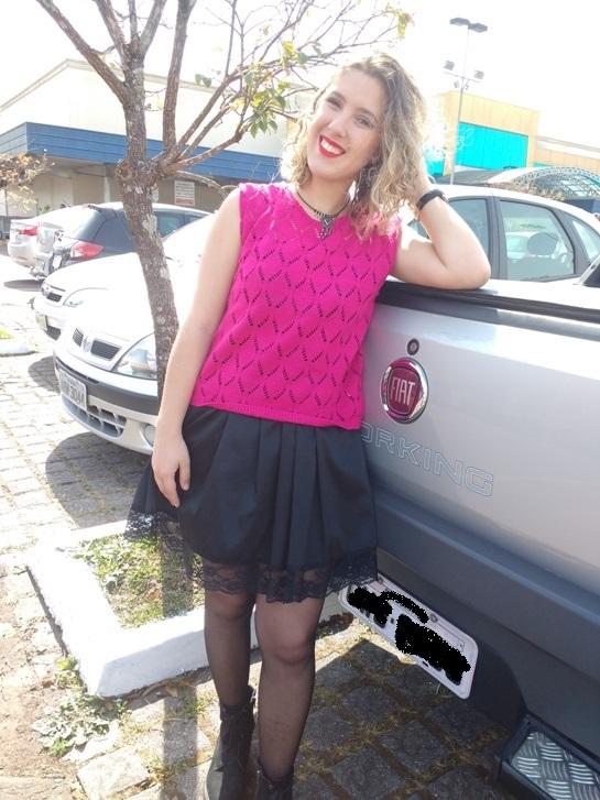 Look Rocker com Tricot Rosa