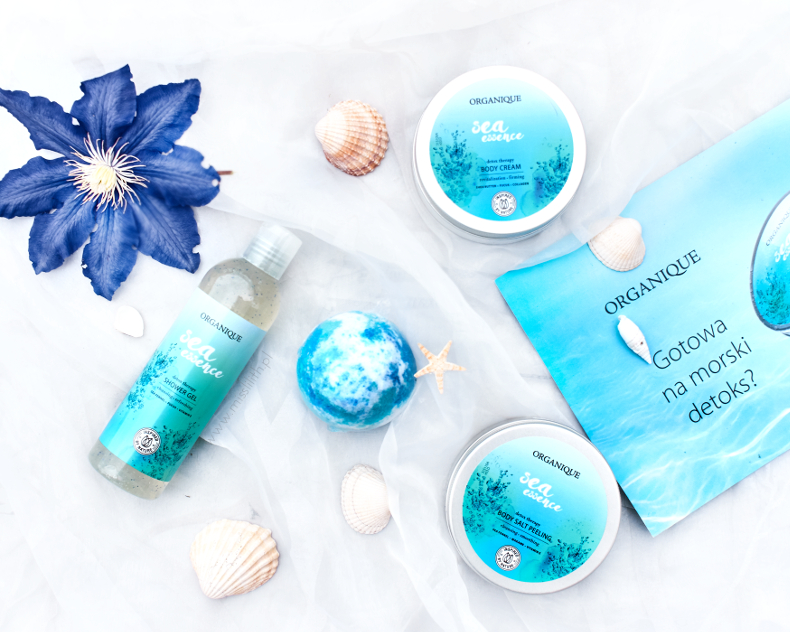 Organique, Sea Essence - body cream, peeling solny, żel pod prysznic, kula do kąpieli blog opinie