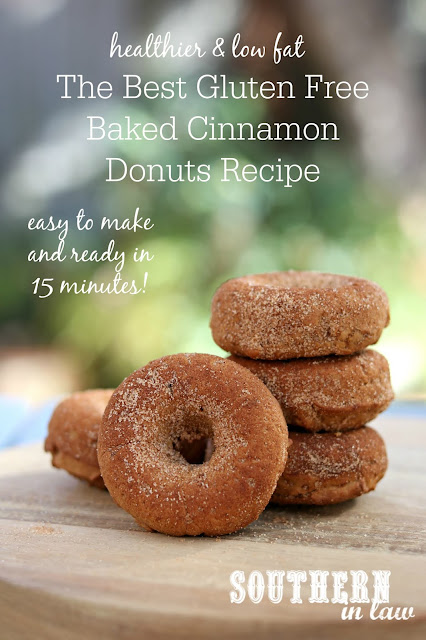 Quick Healthy Gluten Free Baked Cinnamon Donuts Recipe - Gluten free, low fat, low sugar, egg free, dairy free, one bowl recipe, nut free, baked doughnut recipes