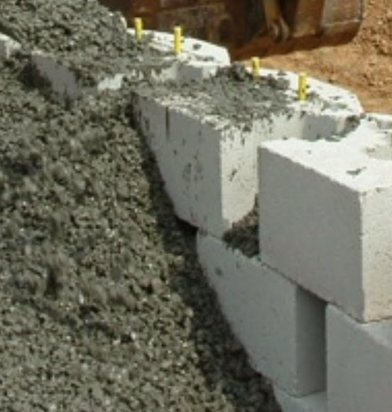 Concrete masonry are filled with no-fines concrete with treated steel