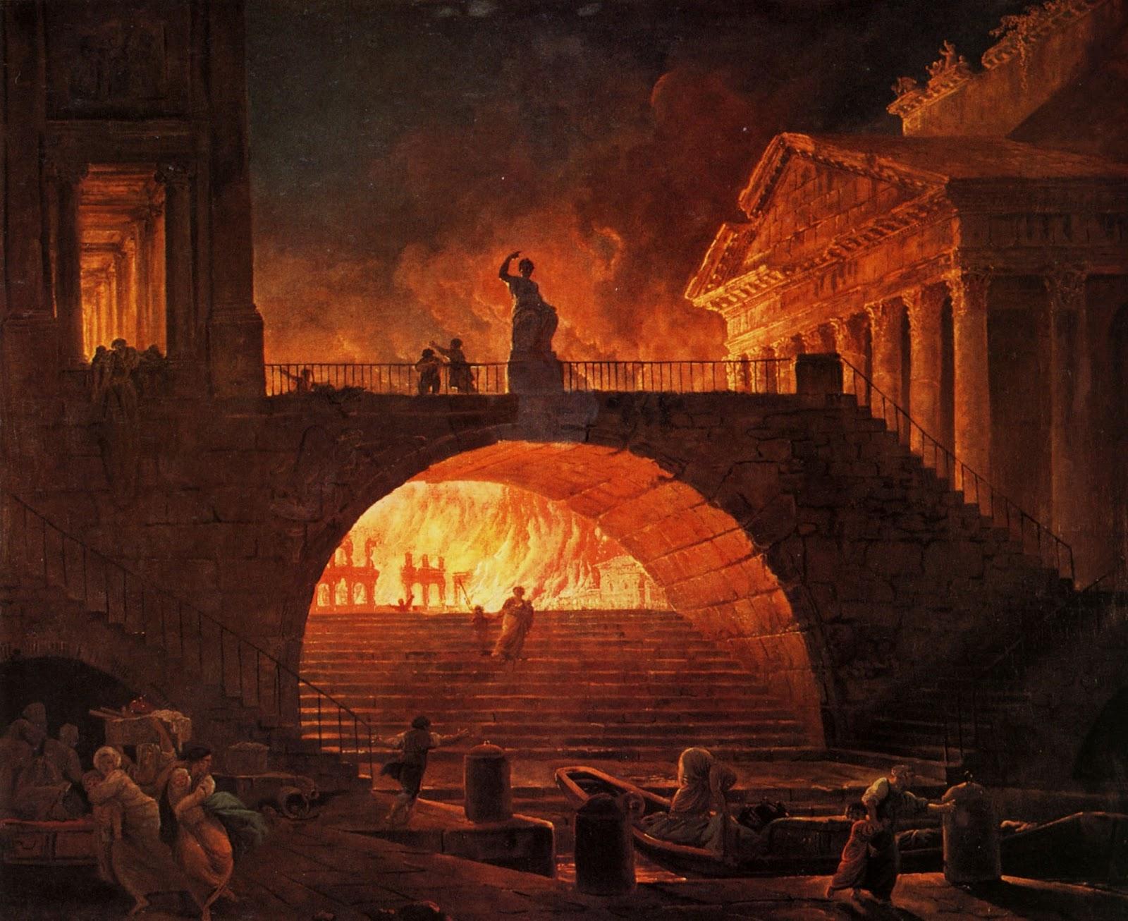 Resultado de imagen para Fotos de incendio de Roma (presuntamente ordenado por el emperador Nerón).