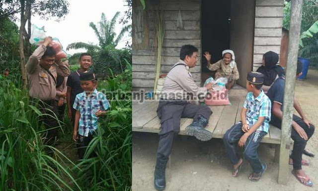 Polisi Ini Keliling Kampung Mencari Warga Miskin untuk Disantuni
