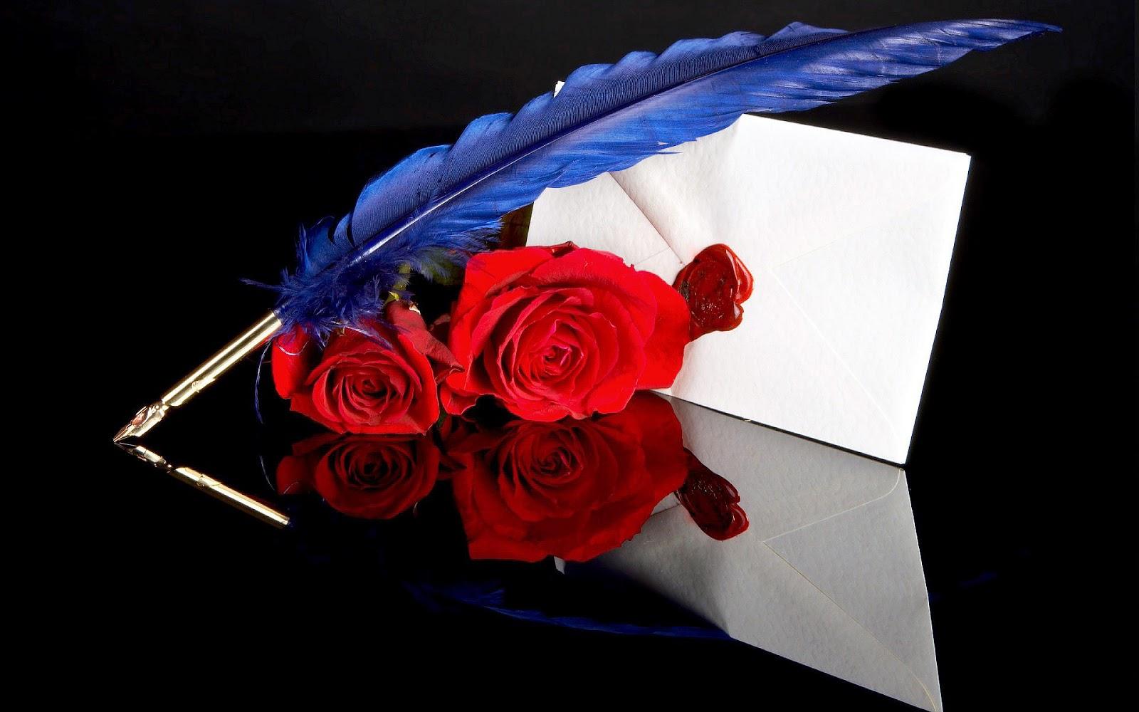 Witte envelop, blauwe veer als pen en rode rozen