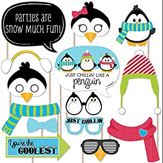 Holly Jolly Penguin Christmas - Holiday Photo Booth Props #hollyjollychristmas #christmasmusic #learnyourchristmascarols #christmasparty