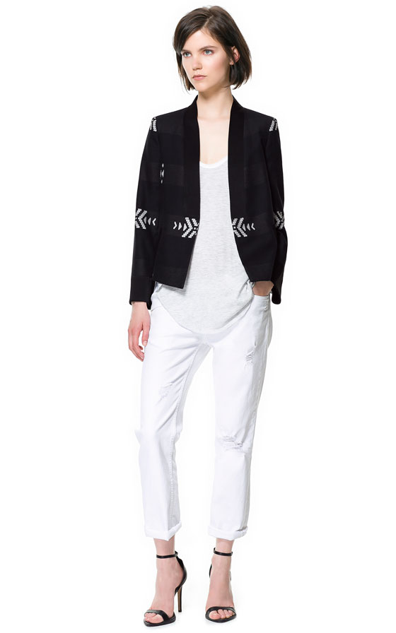 Abbey Clancy, Aztec Print, Black, Blazer, J Brand, Jacket, Leather, Low-rise, Red, Trousers, White, Zara, Embroidered, Criss Cross Pattern, Pattern, Embroidered Detailing,