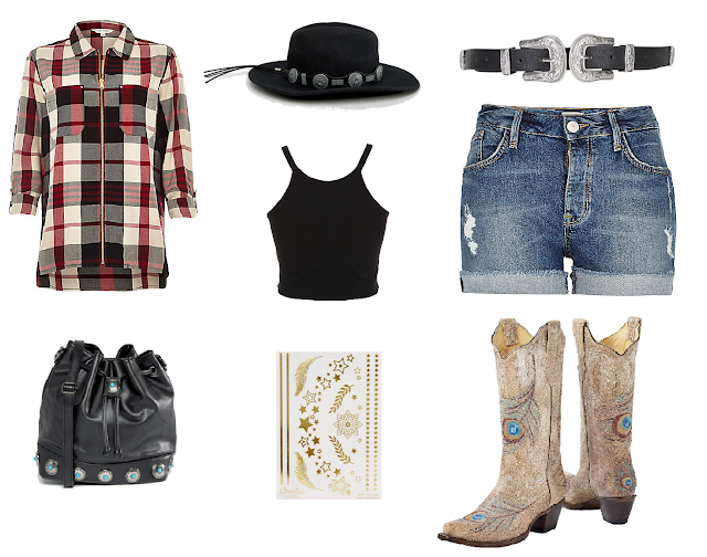 Checked shirt, River Island, Western hat, ASOS, crop top, Miss Selfridge, denim shorts, western bucket bag, gold tattoos, peacock cowgirl boots, king ranch saddle shop,Topshop, western double buckle belt