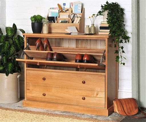oak shoe storage