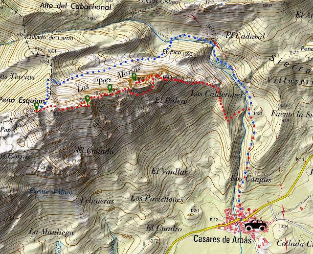 Mapa con la ruta señalizada a las Tres Marías desde el pueblo de Casares de Arbas.