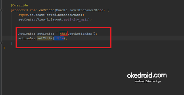 Contoh baris code actionbar android studio