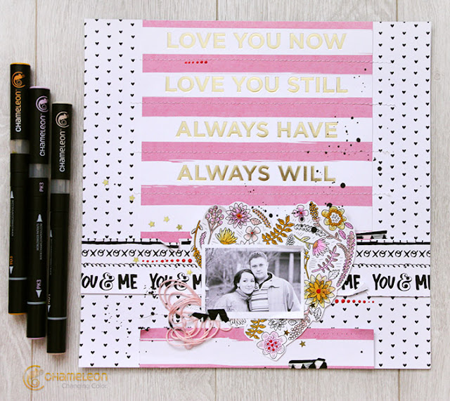 valentine's scrapbook layout