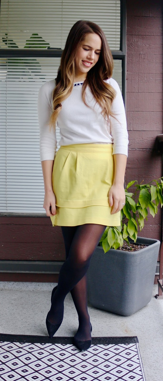 Jules in Flats - Sunny Yellow Skirt for Work