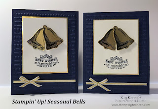 Stampin' Up! Seasonal Bells Wedding Card in Gold and Navy