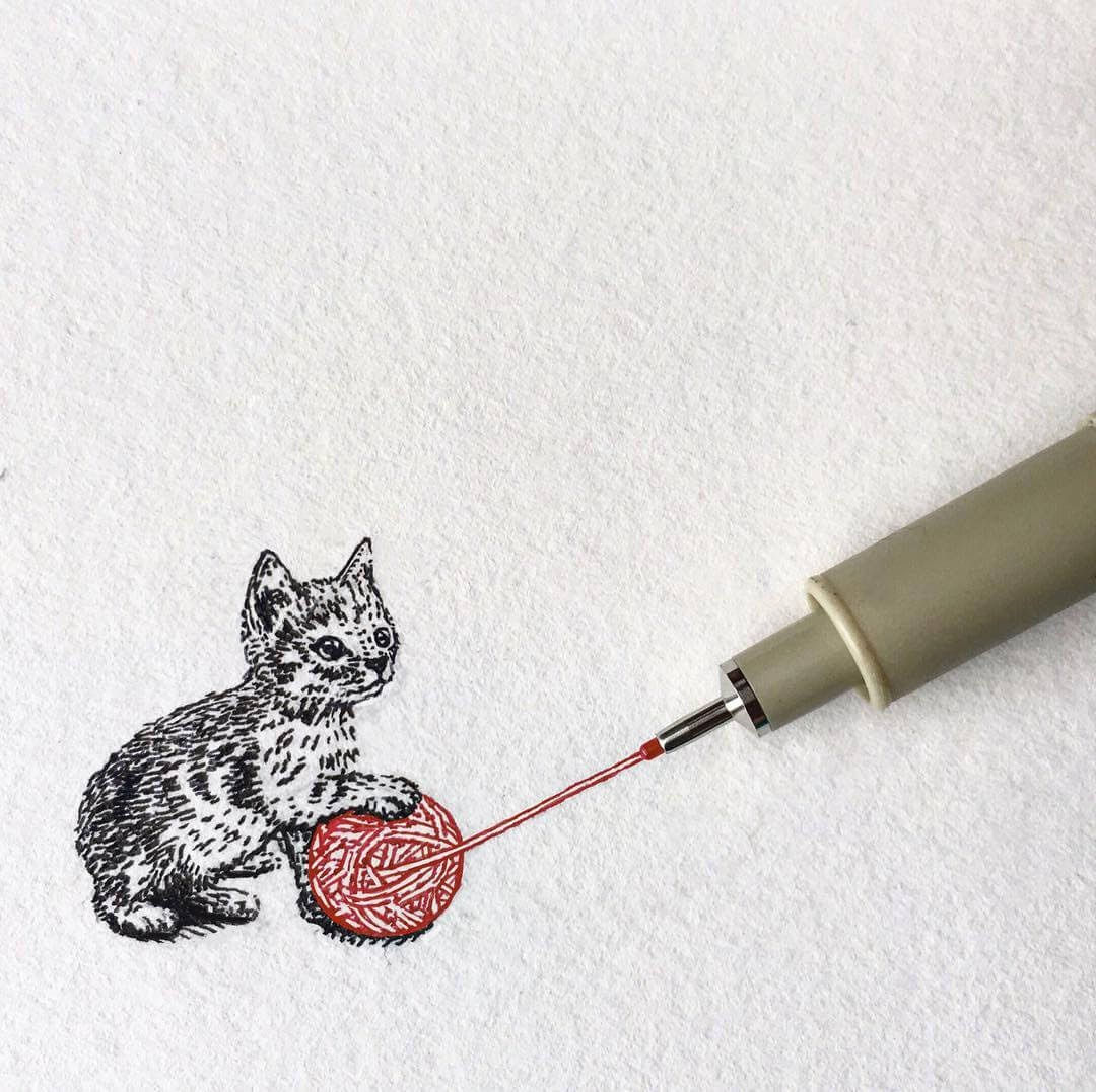 01-Kitten-with-a-Ball-of-Yarn-Bryan-Schiavone-Tiny-Animals-in-Pen-and-Ink-Drawings-www-designstack-co