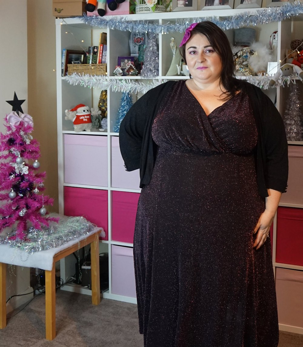 Yours-Clothing-Black-and-Rose-Pink-wrap-front-Sparkle-Midi-Dress plus size Christmas dress // www.xloveleahx.co.uk the size 28 UK fashion blogger