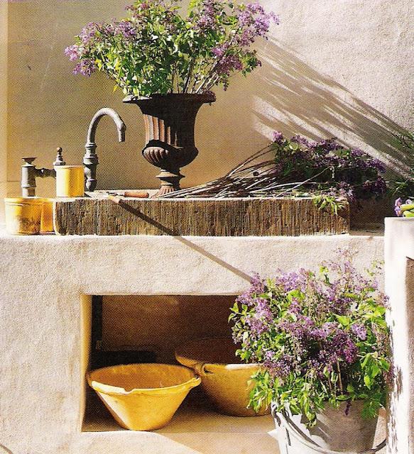 Veranda Magazine, stone garden sink, edited by lb for linenandlavender.net, http://www.linenandlavender.net/2011/07/patience-my-dear.html