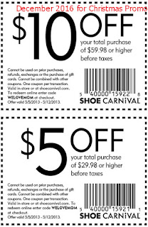 free Shoe Carnival coupons for december 2016