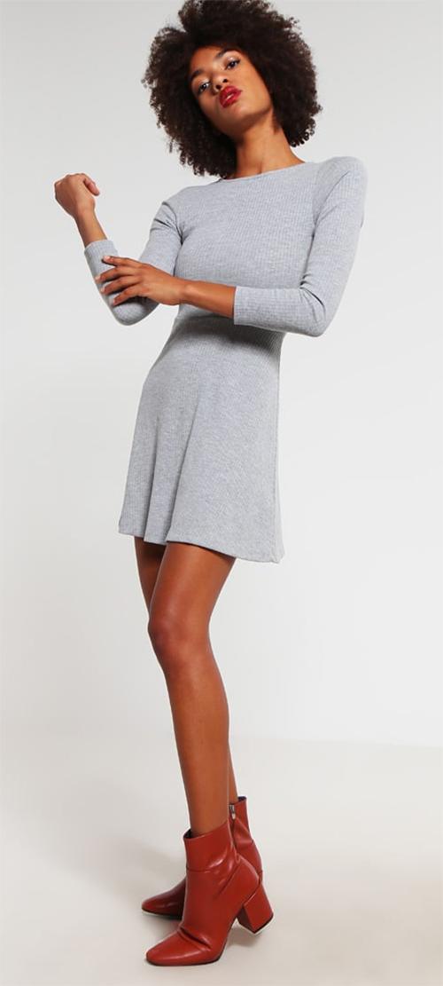 Robe courte grise en jersey manches longues Topshop