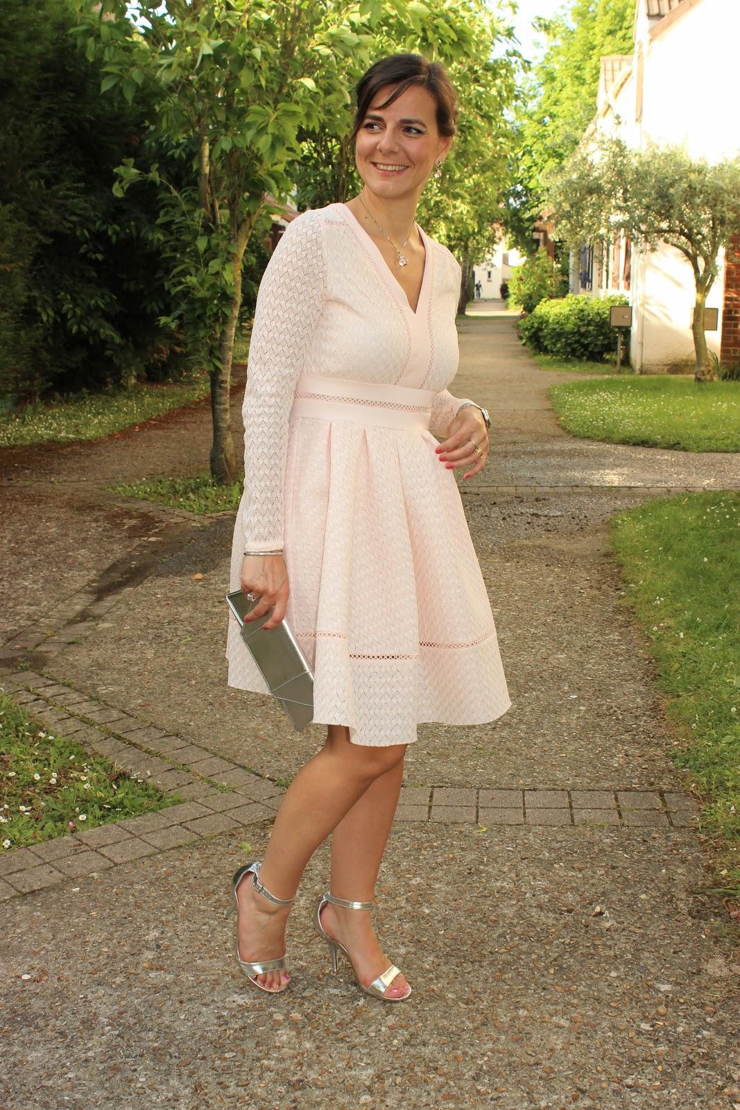 robe maje rose, sandales argentées, les petites bulles de ma vie