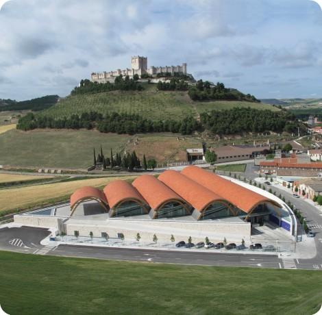Bodegas Protos, con el castillo de Peñafiel al fondo