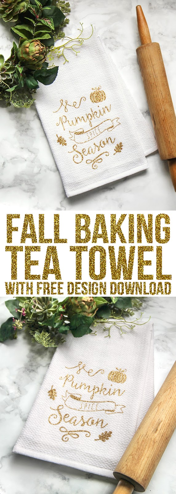 Make your own custom tea towel for fall using glitter heat transfer vinyl and a Silhouette or Cricut machine. It's a cute and easy fall craft to decorate your home. #fallcrafts